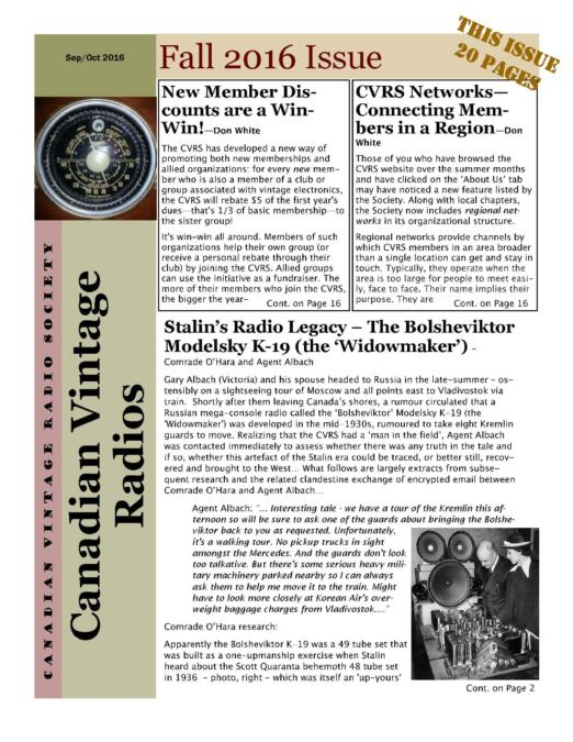 CVRS Newsletter 2016 4 October