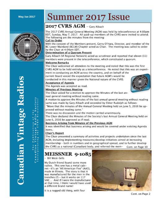 CVRS Newsletter 2017 3 June