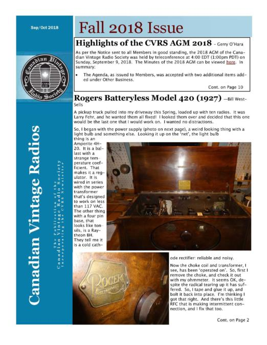 CVRS Newsletter 2018 4 October