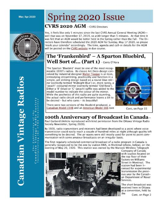 CVRS Newsletter 2020 2 April